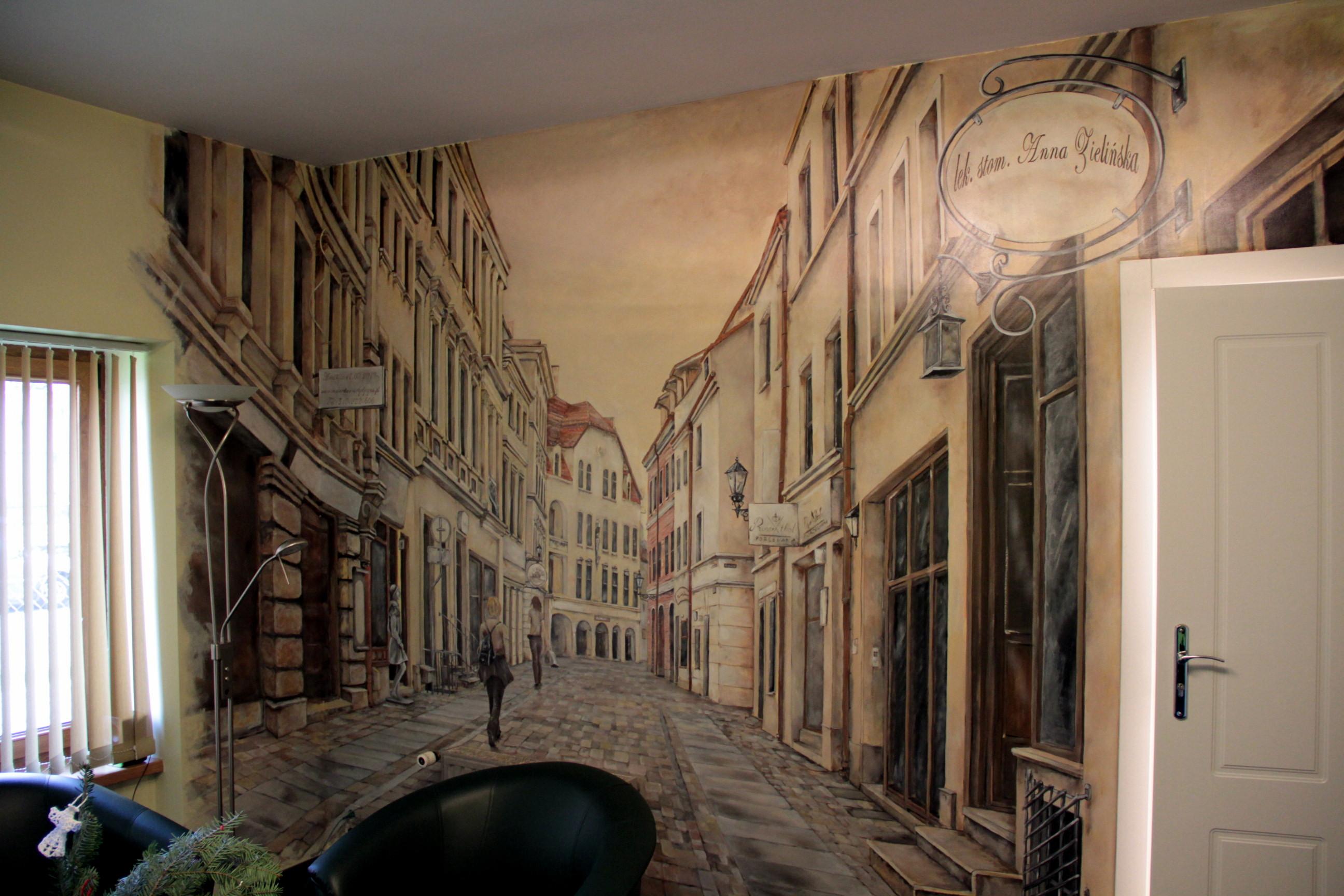 Artystyczne malowanie scian, uliczka w perspektywie