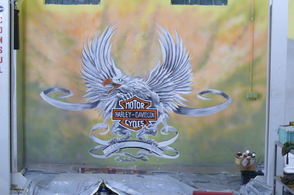 Harley Davidson - mural na ścianie