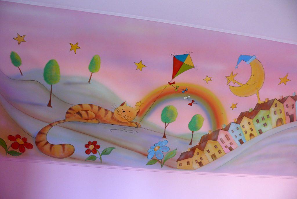 Artystyczne malowanie ściany w pokoju dziecięcym, malowanie pokoi dziecięcych