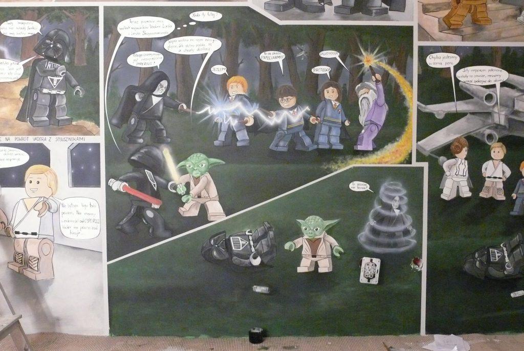 Komiks na ścianie aranżacja pokoju dziecięcego, graffiti w stylu komiksowym w pokoju dziecka