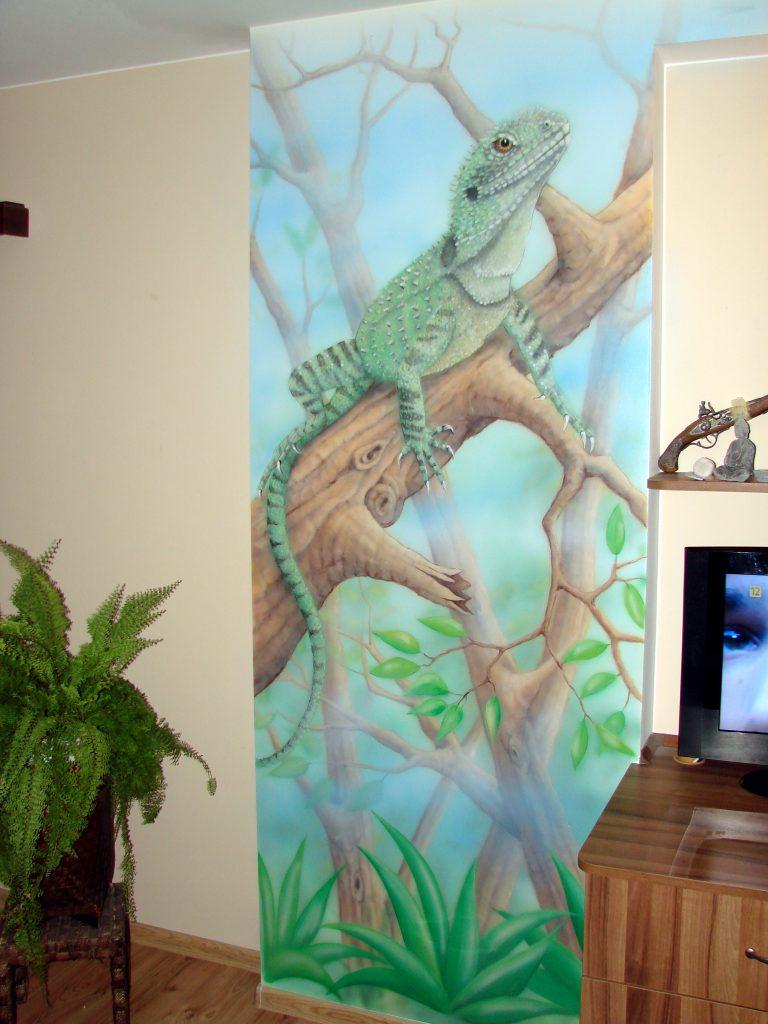 Mural jaszczurki w pokoju dziecięcym