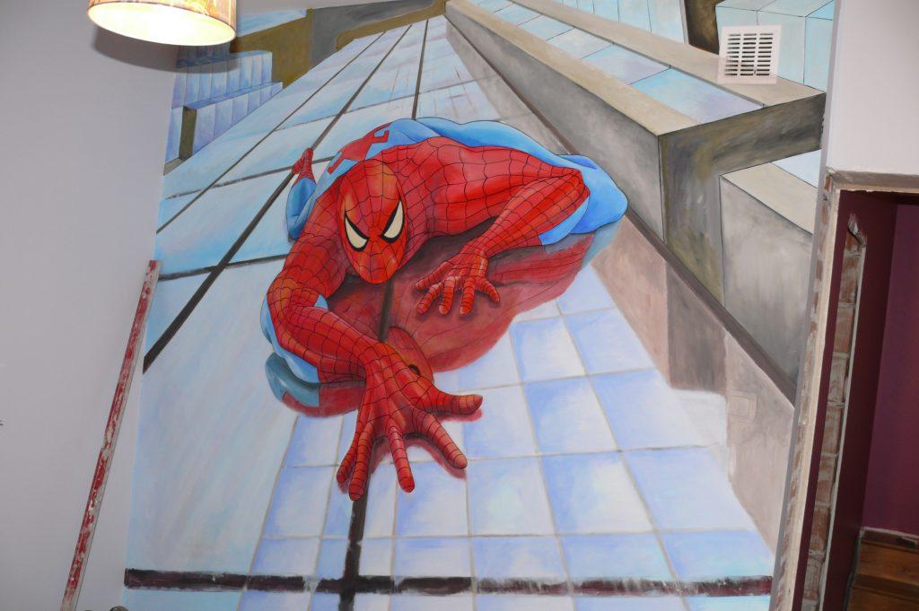 Spider-man, malowanie pokoju dziecięcego, graffiti 3D