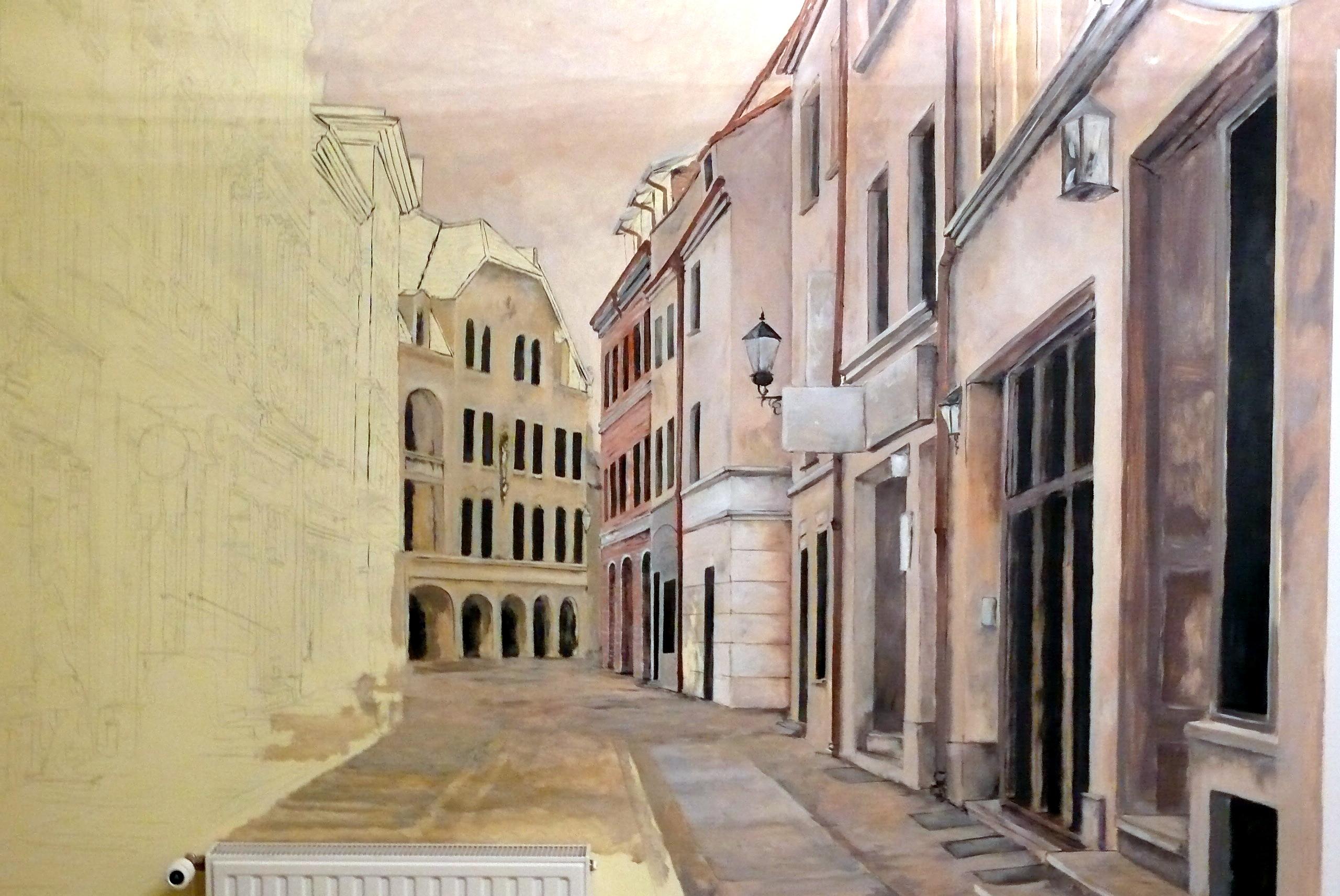 Mural w biurze, aranżacja gabinetu poprzez malowanie