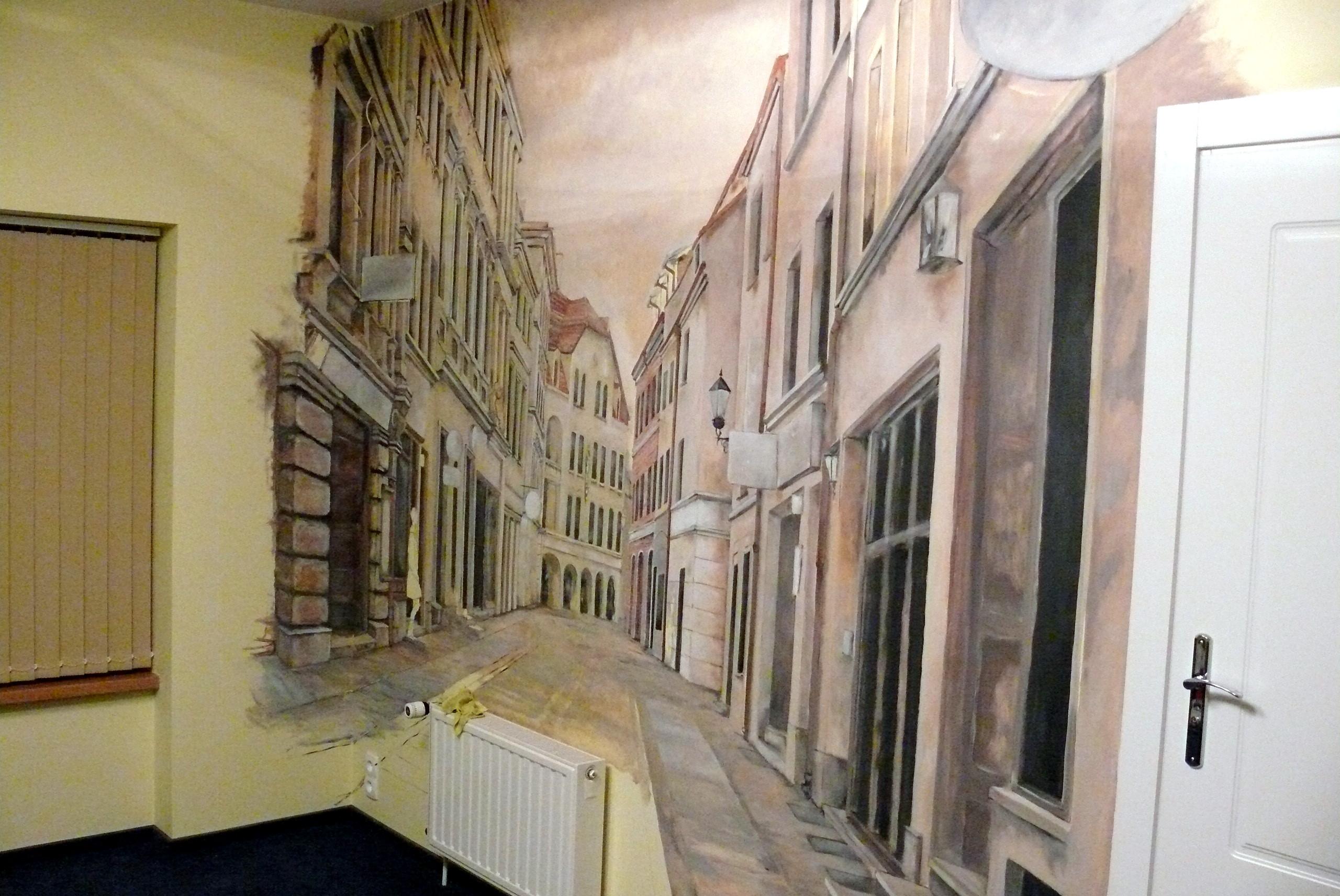 Aranżacja ściany w biurze malowanie murali