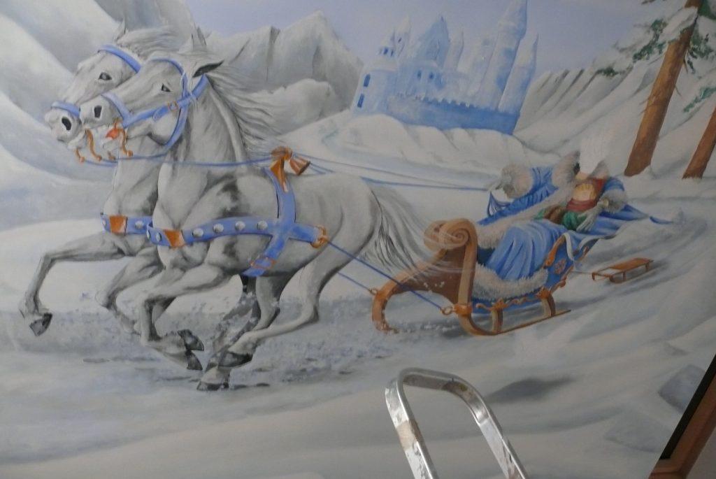 Pokój dla dziewczynki, aranżacja ściany poprzez malowanie artystyczne graffiti 3D,