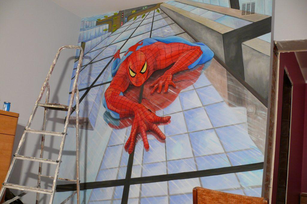 Pokój chłopca, Spider-man, malowanie spidermana w pokoju chłopca