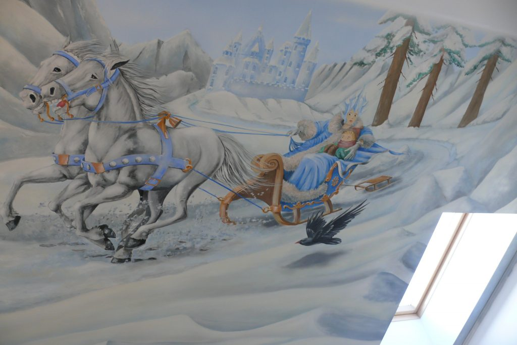 Królowa ścniegu, pokj dziewczynki, aranżacja sciany, mural 3D w pokoju dziewczęcym