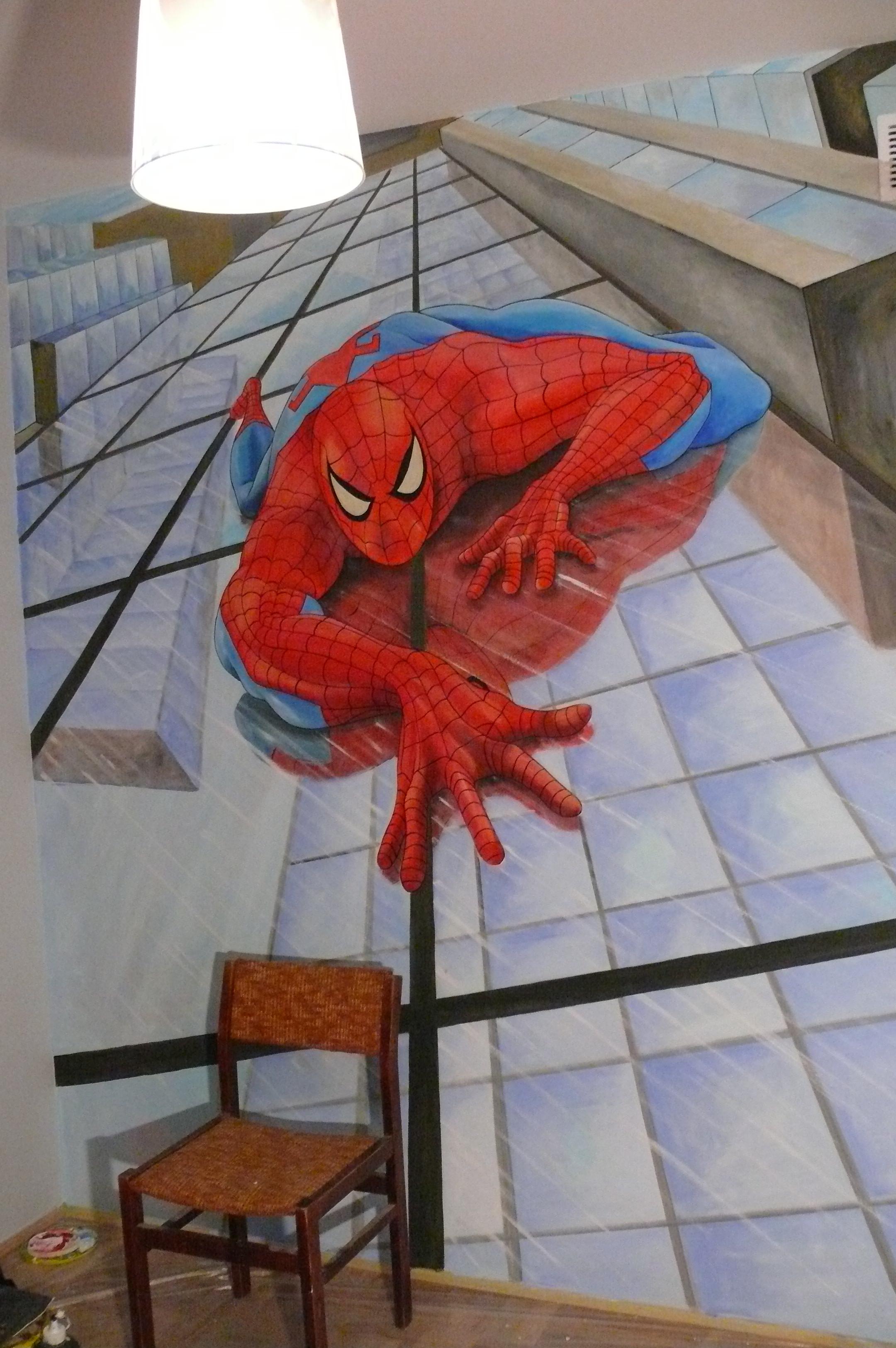 Spider-man, malowanie pokoju chłopca, malowanie super bohatera
