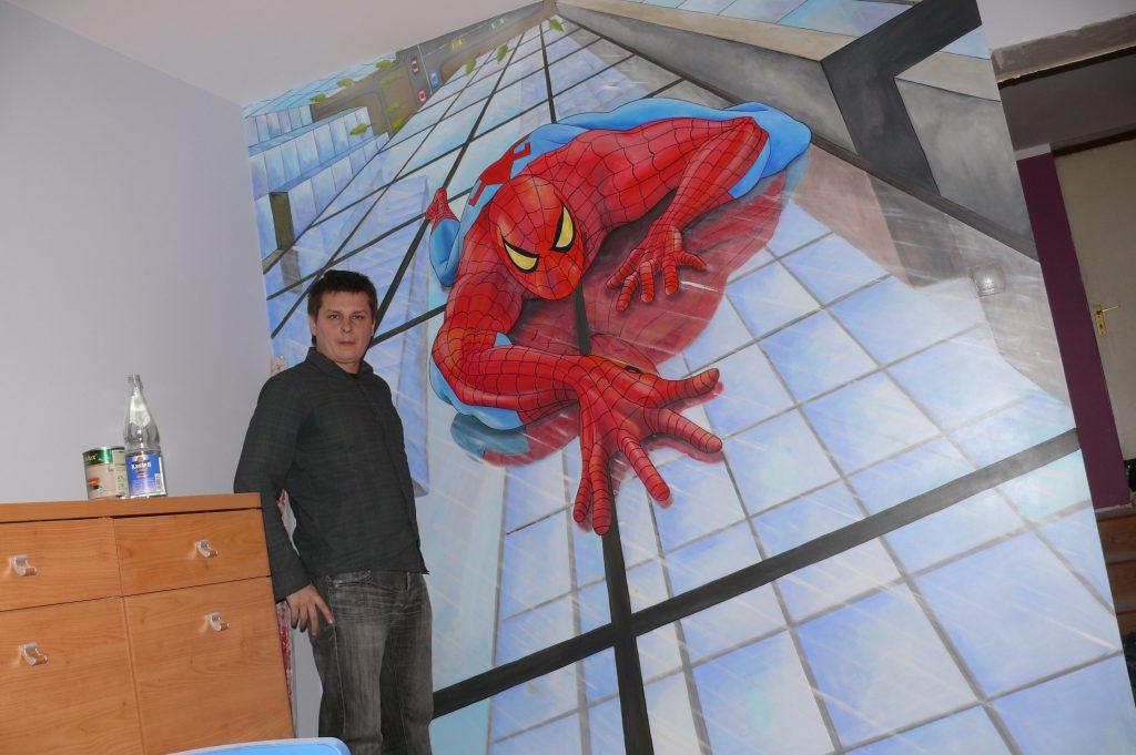 Pokój chłopca, malowanie Spider-mana, graffiti na scianie