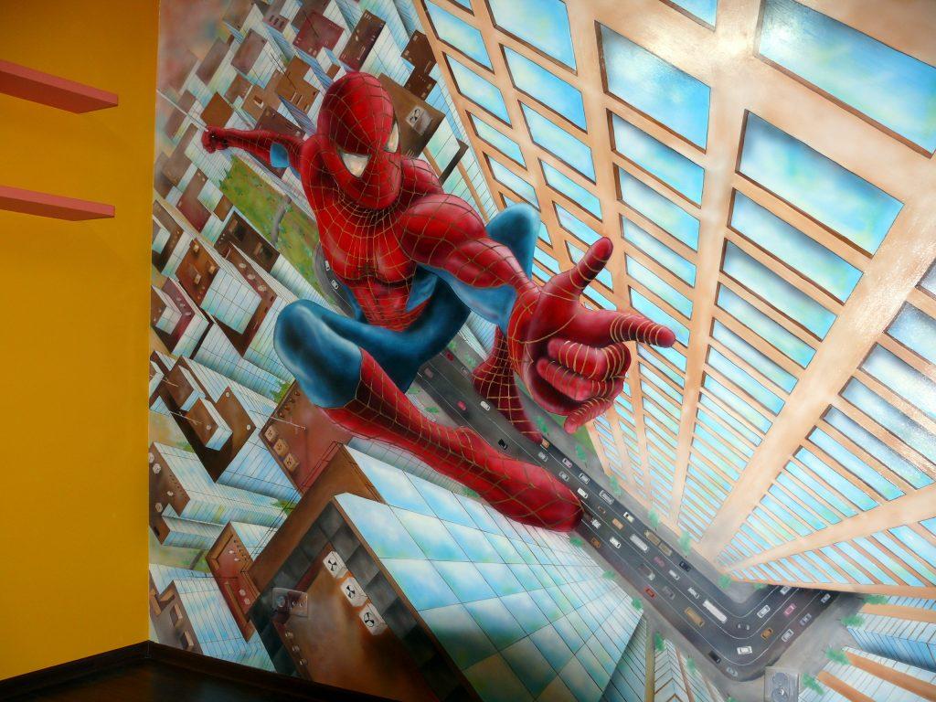 Malowanie pokoju chłopca, Pokój chłopca graffiti 3D, spider-man, malowanie graffiti w pokoju dziecięcym