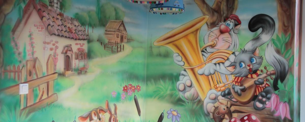kącik zabaw dla dzieci, mural na scianie