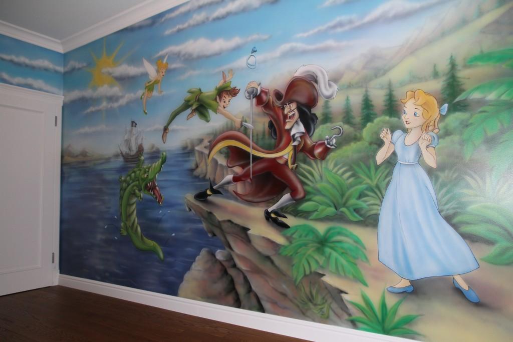 Rysowanie na ścianie w pokoju dziecka, grafitti 3D