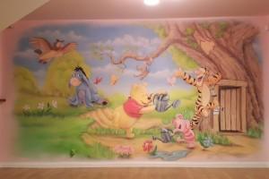 Malowanie pokoju dziecięcego w motyw z bajki Kubuś Puchatek, inspiracja w aranżacji pokoju dziecka