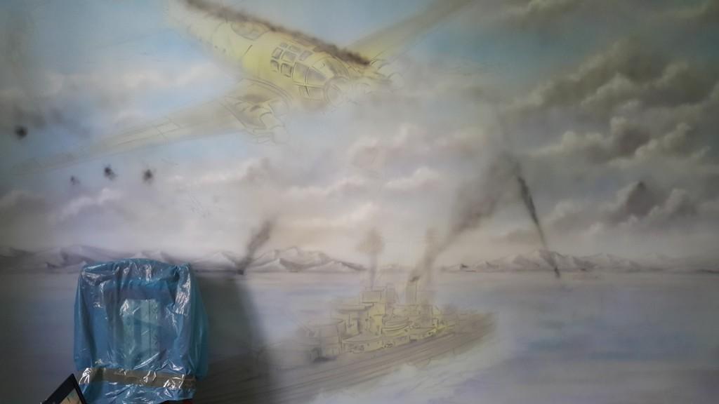 Malowanie obrazu na ścianie z bitwy
