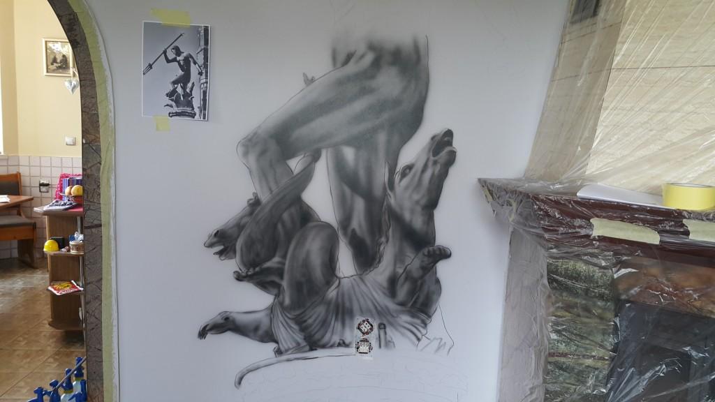 Neptun malowanie obrazu na scianie