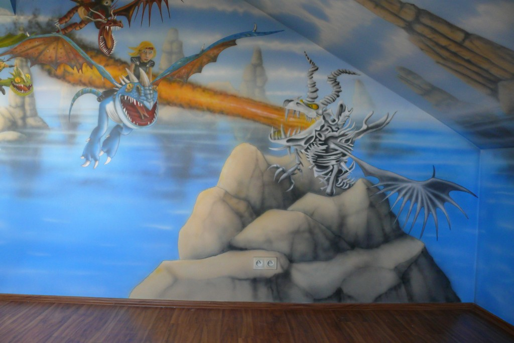 Rysunek na ścianie, malowanie smoka, pokój dziecka