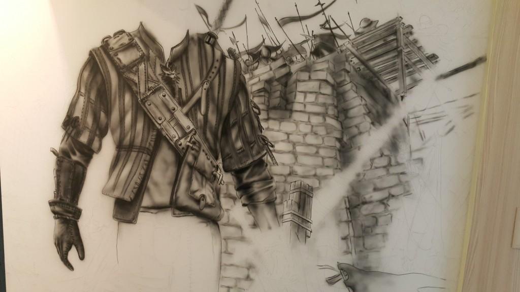 Szkicowanie na ścianie obrazu, malarstwo ścienne