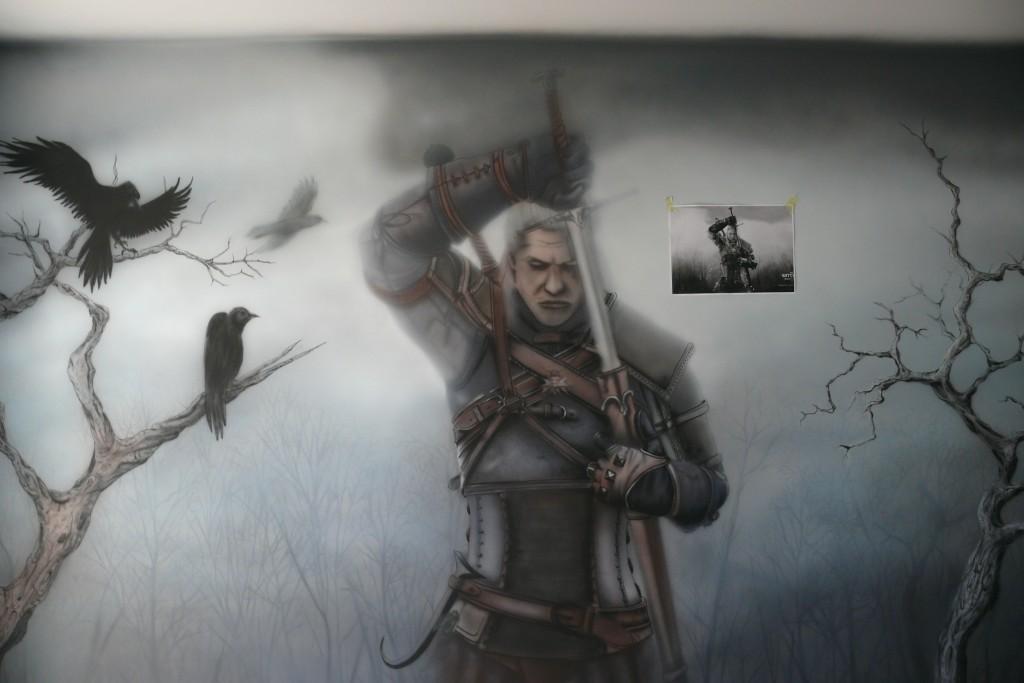 Malowanie motywu z gry wiedźmin, mural ścienny