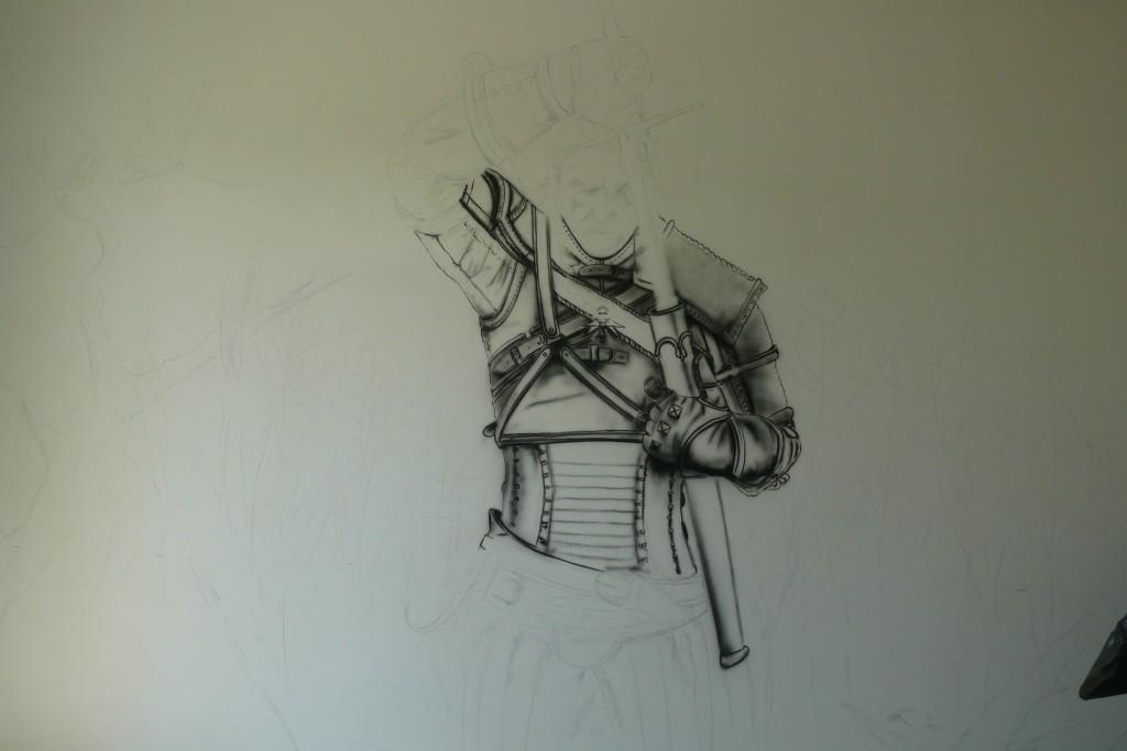 Malowanie wiedźmina na ścianie w pokoju młodzieżowym, mural 3D