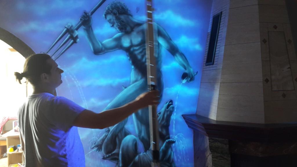 Malowanie grafiki ściennej, mural UV