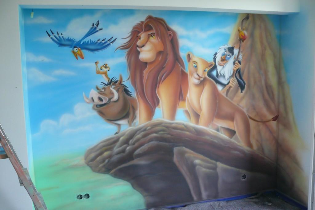 Mural Król Lew, w pokoju dziecięcym, malowanie ściany, Malowanie obrazu na ścianie