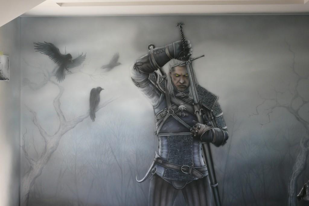 Pokój małodzieżowy, malowanie na ścianie motywu z gry wiedźmin