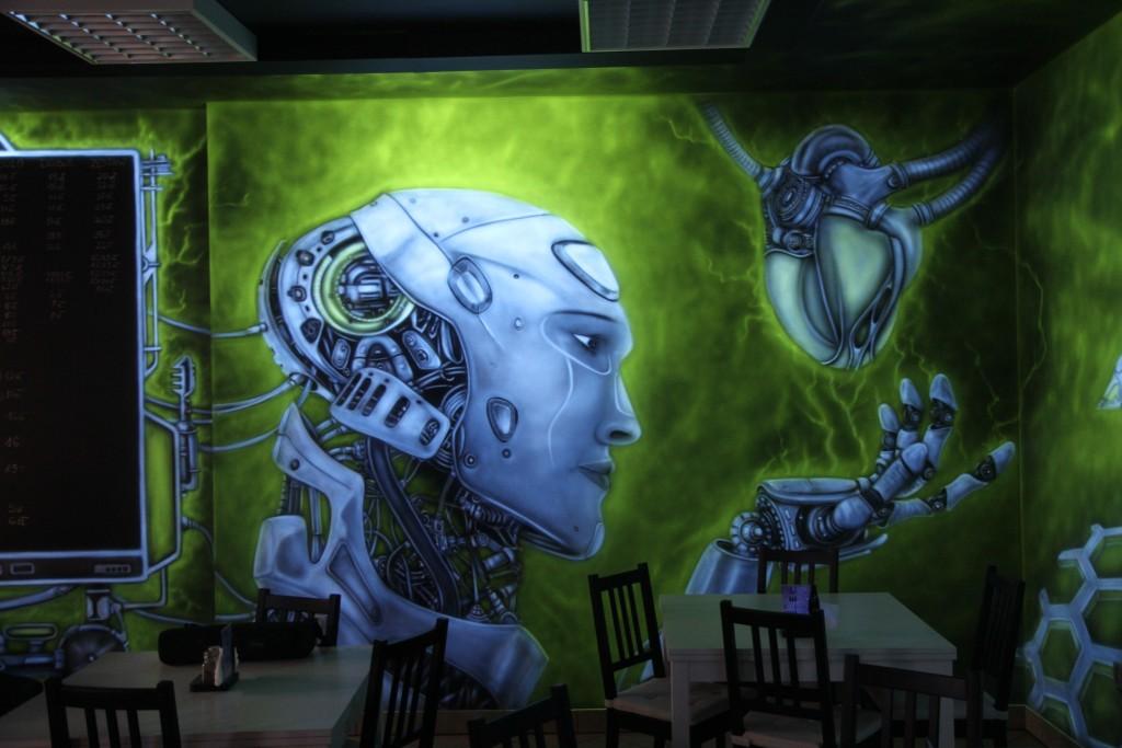 Malowanie farbami fluorescencyjnymi, mural UV, biomechanika