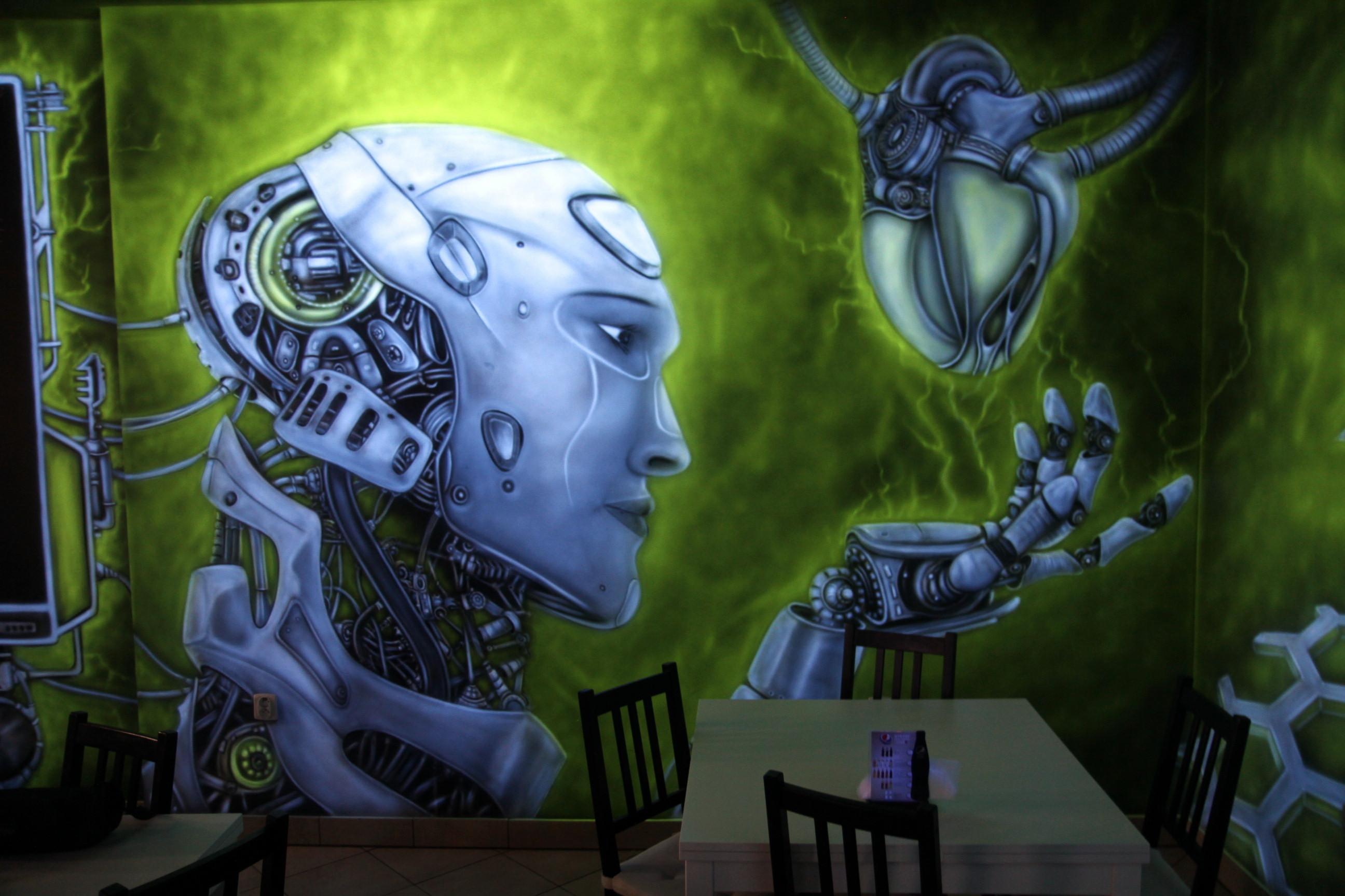 Malowanie farbami UV, świecący mural, biomechanika steampunkowa