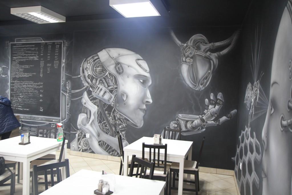 Malarstwo ścienne, malowanie fantazy, fantastyka, mural cybernetyczny, malowanie robota na ścianie