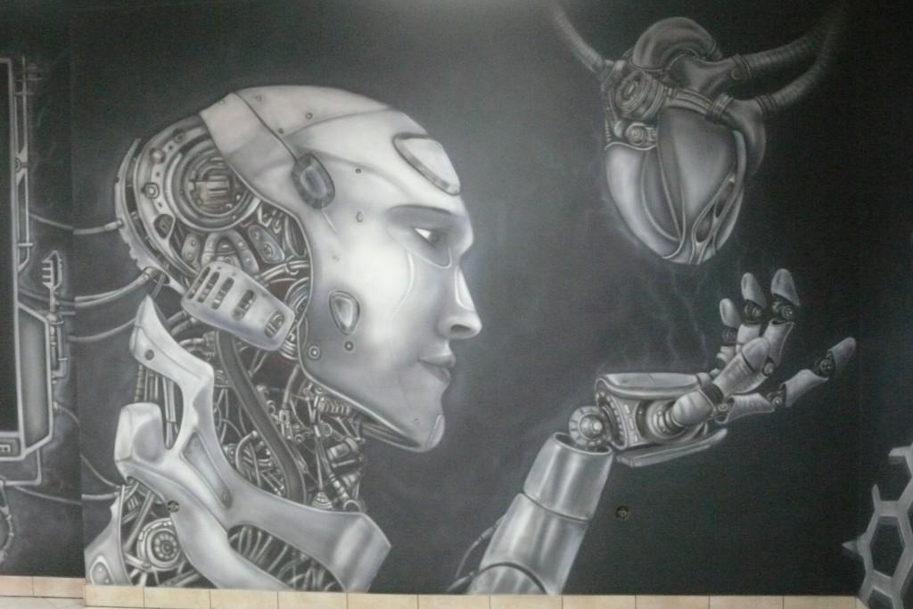 Biomechanika steampunkowa, mural UV, malowanie grafitti farbami UV