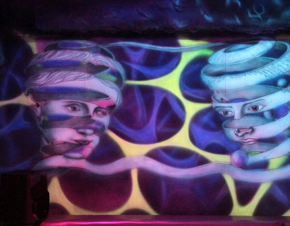 Obraz abstrakcyjny malowany farbami fluorescencyjnymi, nowoczesny obraz