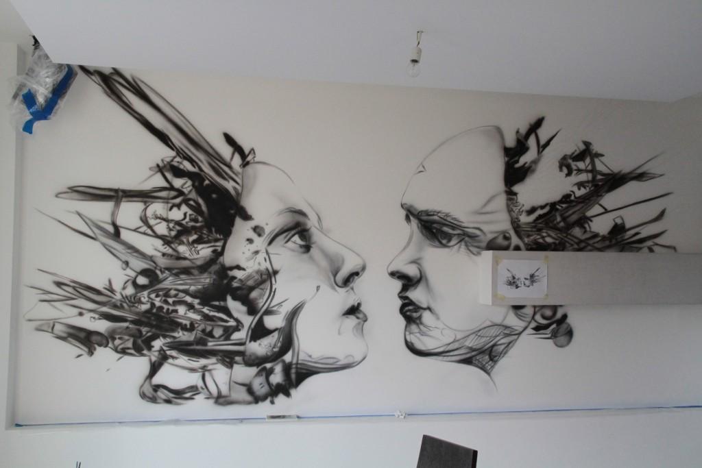 Mural, biomechanika, nowoczesny obraz do nowoczesnego wnętrza, Mural UV