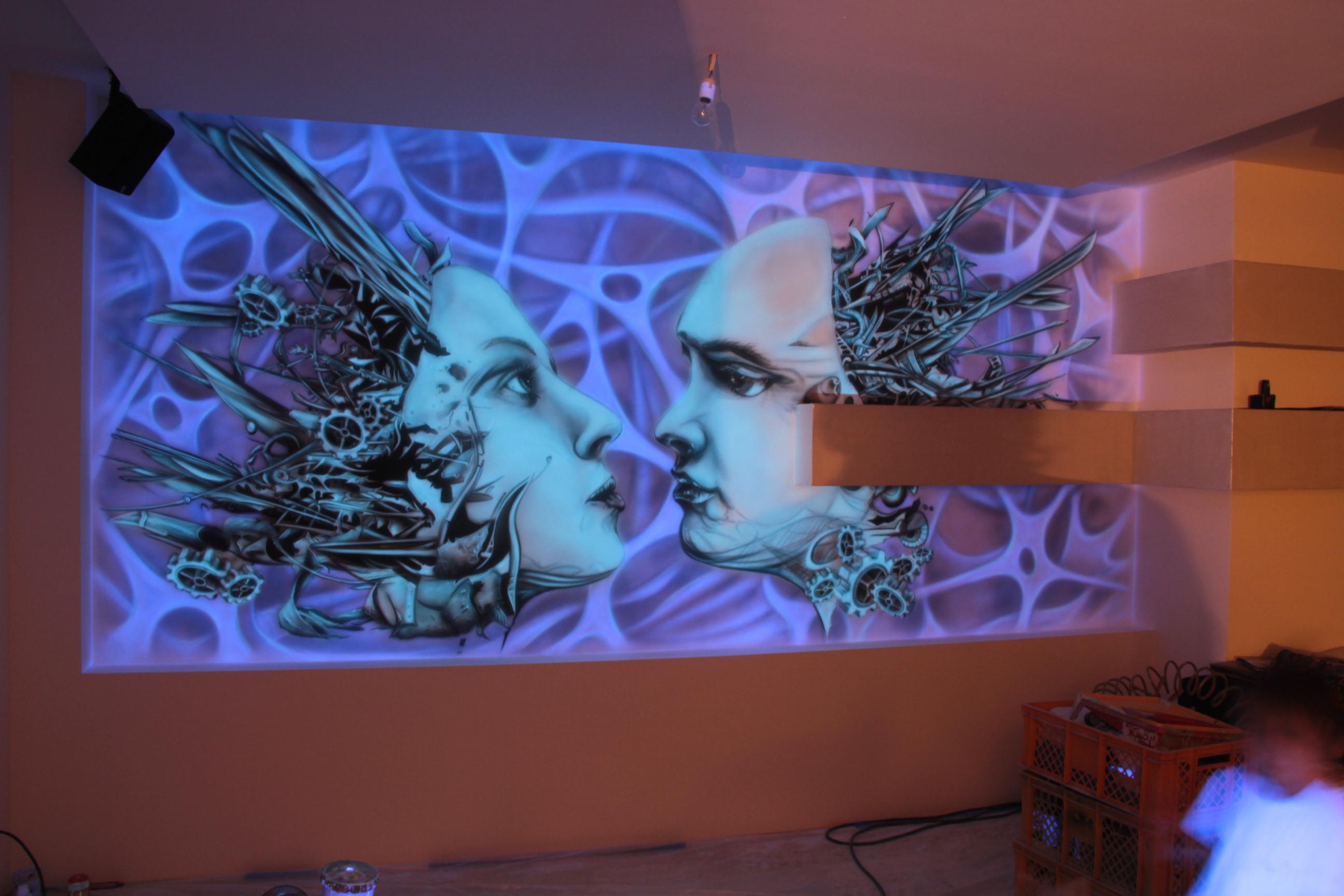 Abstrakcyjny obraz do nowoczesnego wnętrza, mural UV w ultrafiolecie, malowanie biomechaniki,