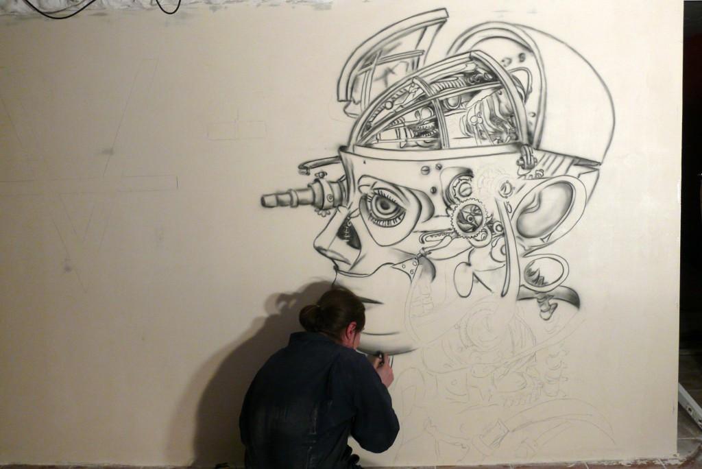 Aranżacja ściany w klubie dyskotece, barze, Malowanie ngrafitti UV, wnetrze klubu