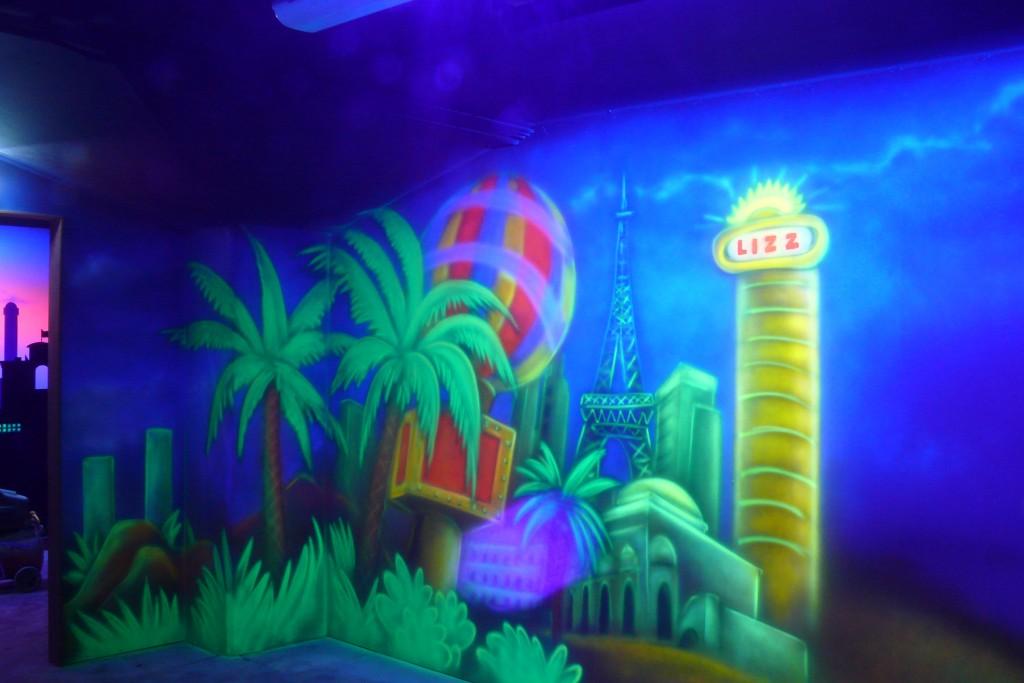 Malowanie scian w kręgielnu, mural UV, malarstwo ścienne,