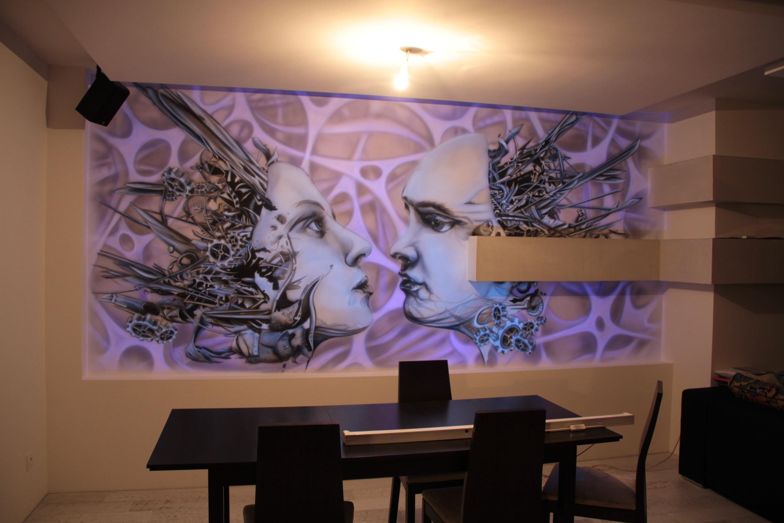 Mural UV biomechanika do modernistycznego wnętrza, grafitti UV