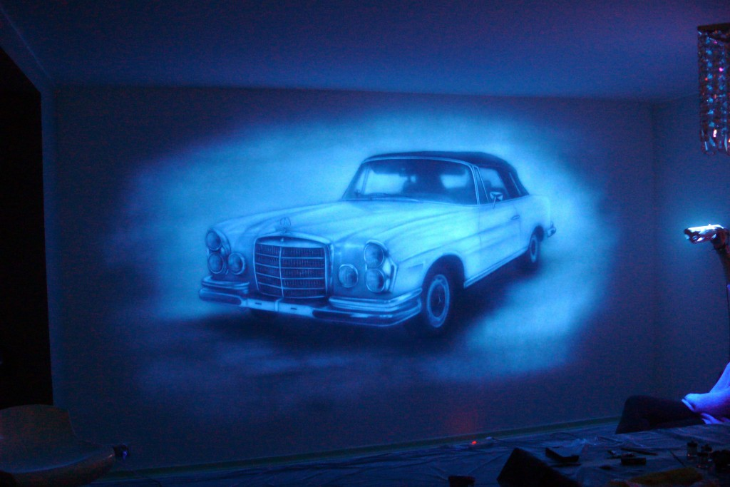 Malowanie obrazu na scianie farbami UV, farby świecące w ciemności