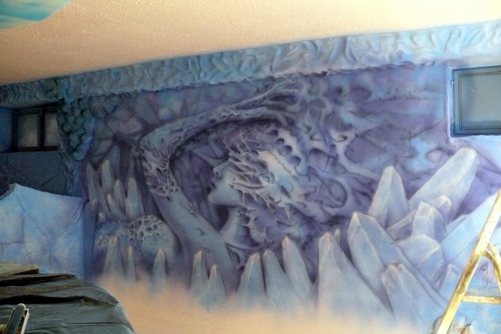 Abstrakcyjny obraz do nowoczesnego wnętrza, malowanie obrazu na ścianie, mural,