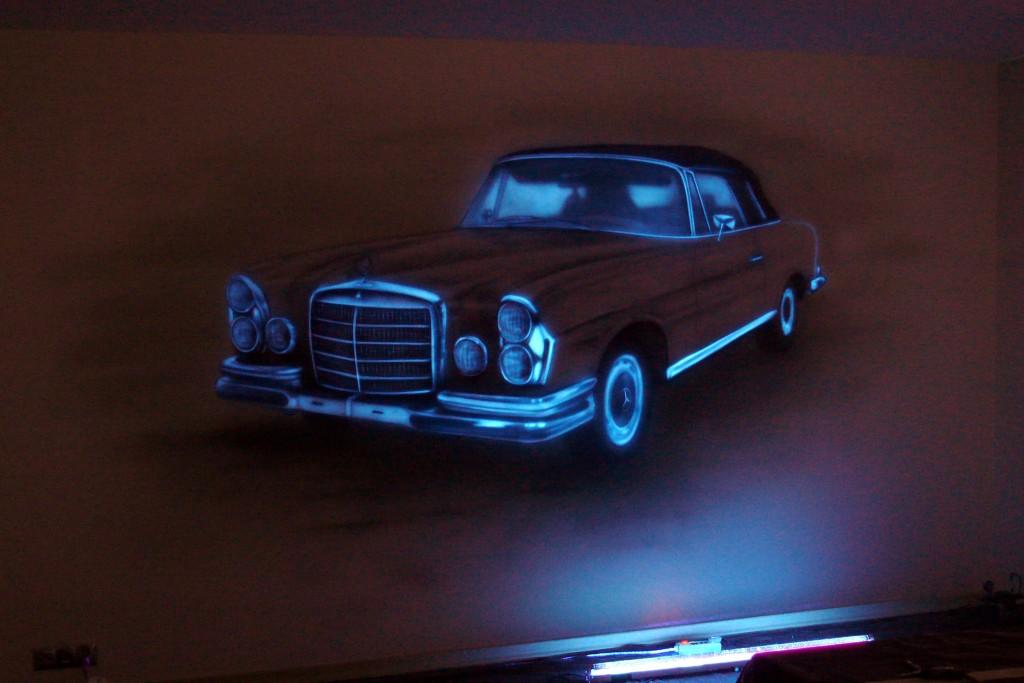 Farby świecące w ciemności, mural UV, malarstwo fluorescencyjne