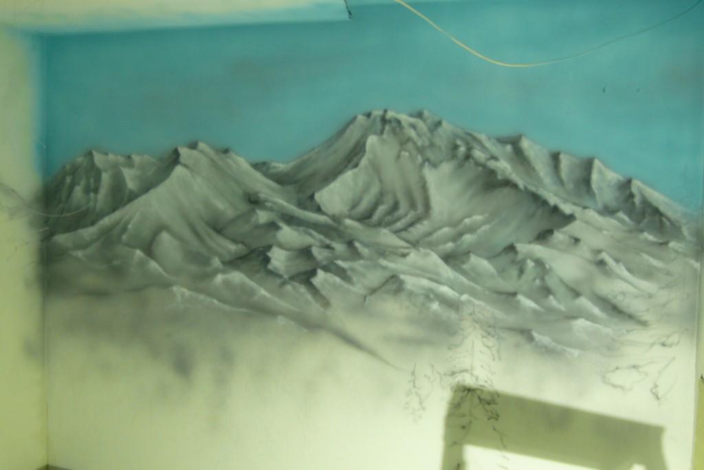 Pejzaż góeski, rysunek wykonany na ścianie