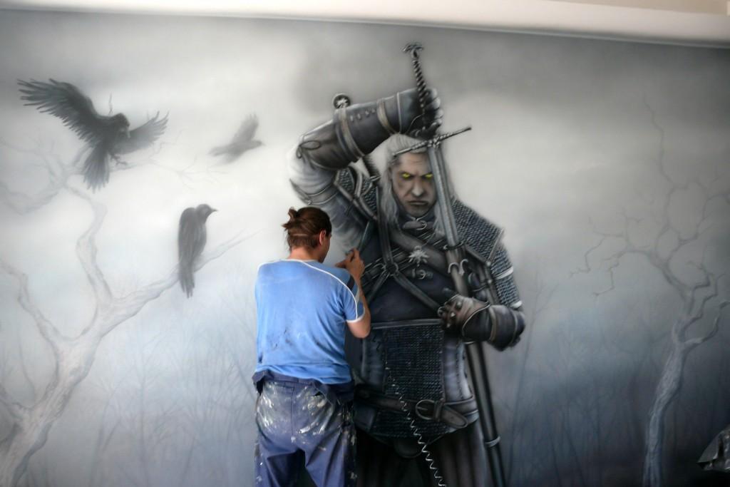 Mural Uv w pokoju młodziezowym malowanie obrazu na ścianie farbami Fluorescencyjnymi