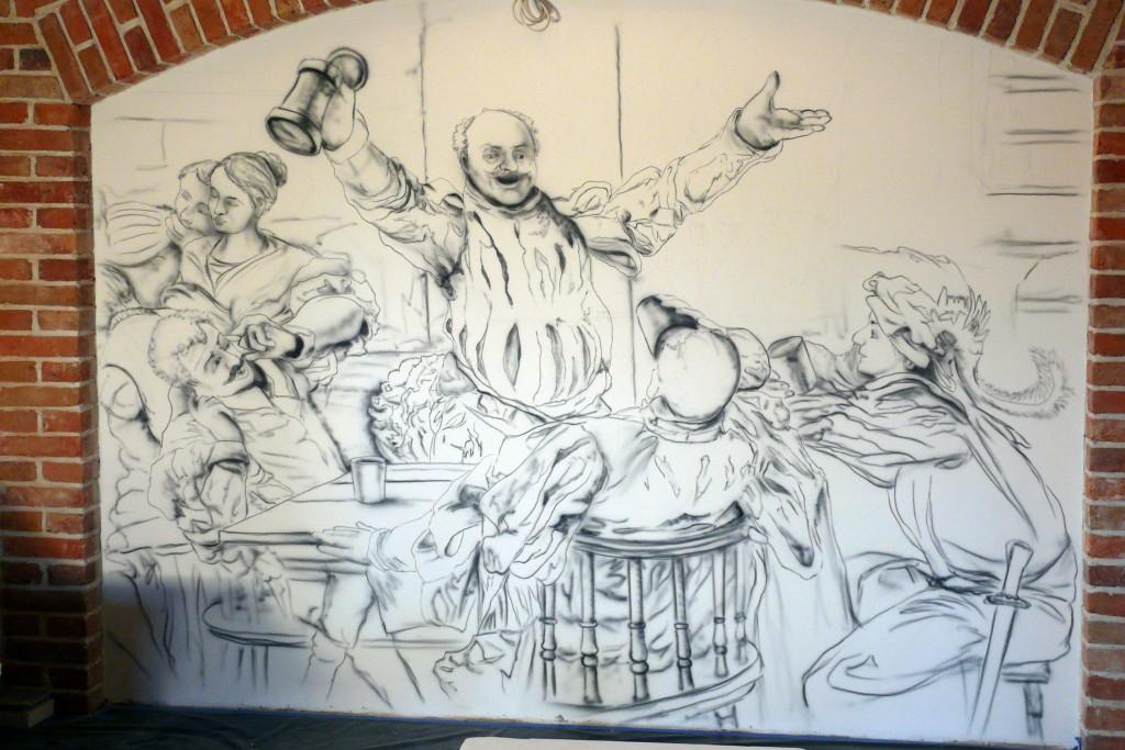 Szkicowanie na ścianie, malowanie obrazu ściennego w dworze