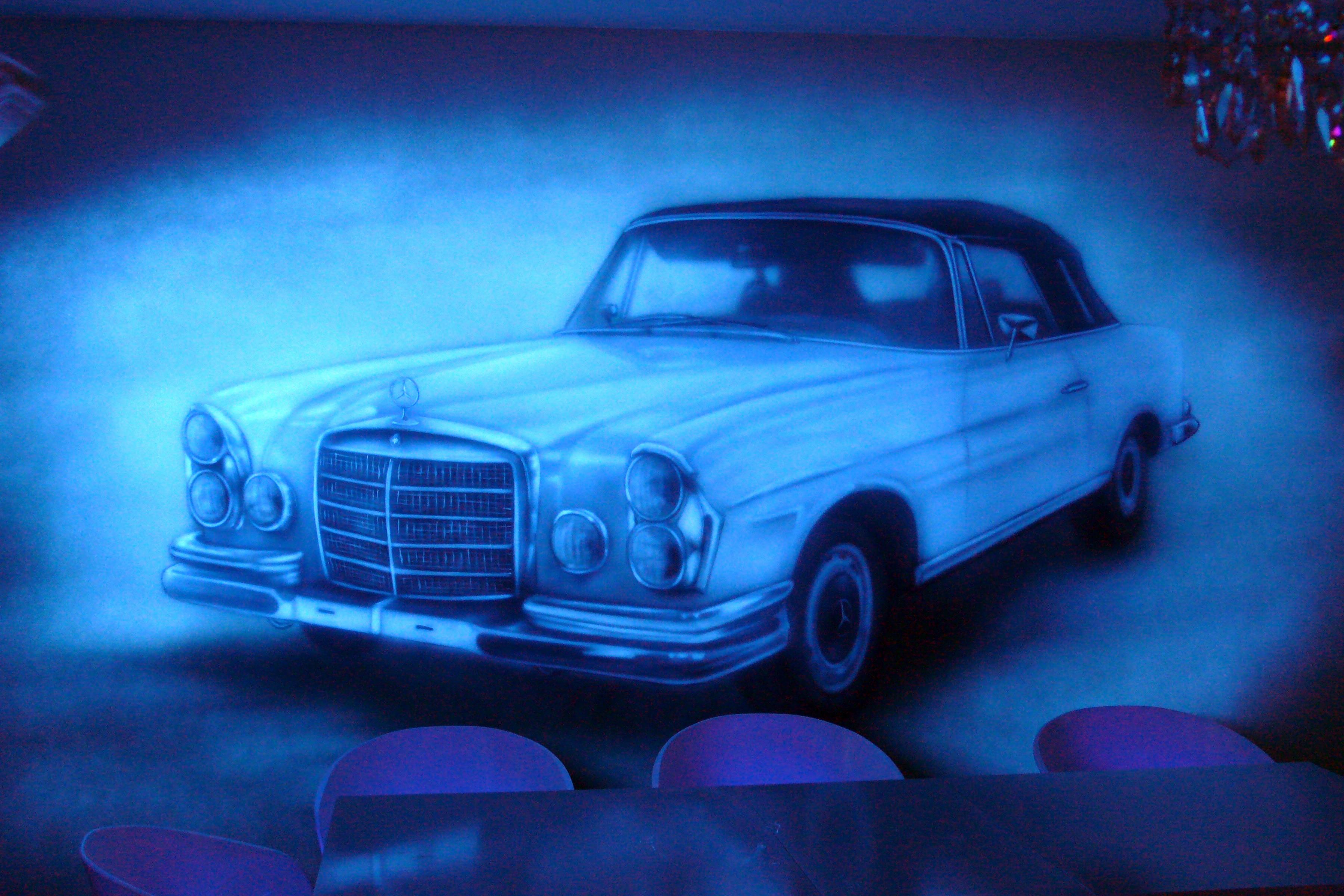Malowanie obrazu farbami UV, mural w ultrafiolecie