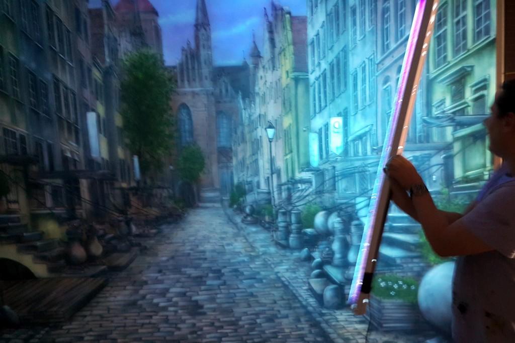 Malowanie farbami UV obrazu na ścianie malarstwo ścienne Gdańsk