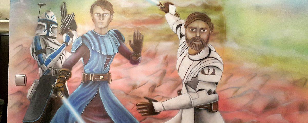 Malowanie graffiti na ścianie w pokoju chłopca, gwiezdne wojny, Mural #D