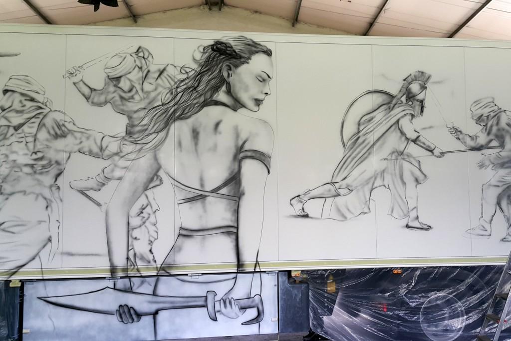 Artystyczne malowanie naczepy tira, malowanie ciężarówki