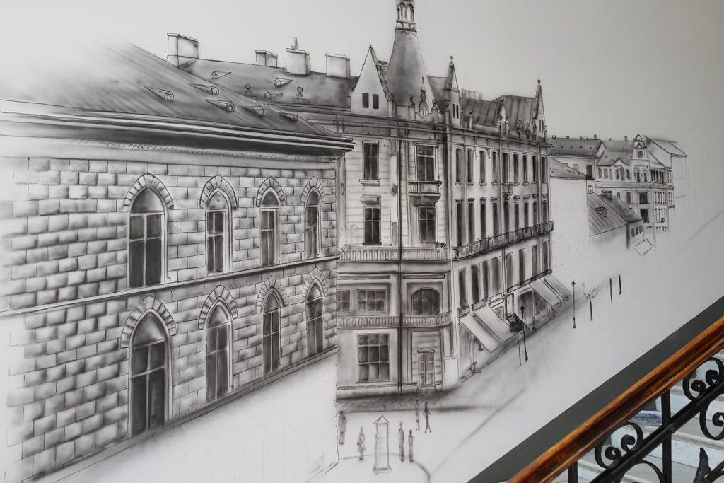 Mural w czarno-bieli, grafika monochromatyczna