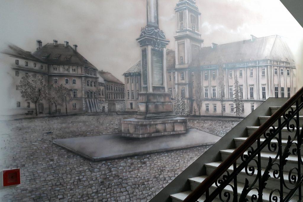 Malowanie czarno-białego obrazu, mural monochromatyczny