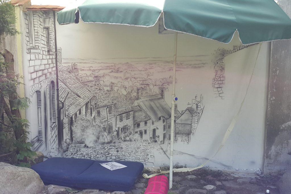 Malowanie uliczki w perspektywie, mural 3D
