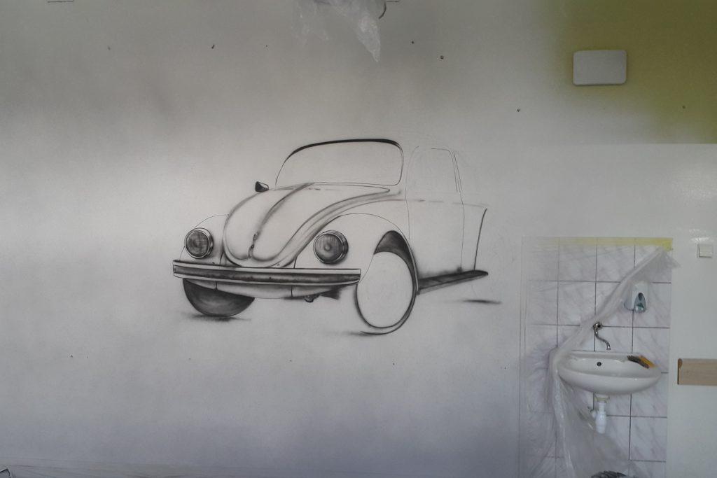 Malowanie VW Garbusa na ścianie, mural Toruń
